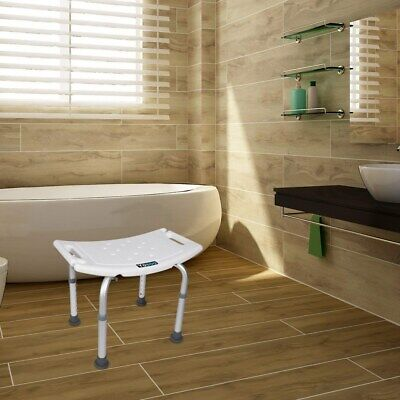 £28.63 • Buy Portable Bath Shower Seat Chair Stool Adjustable Height Mobility Bathing Aid UK
