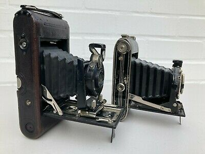 2 X Old Vintage Collectable Folding Bellows Cameras Ensign Popular And Agfa • 25.50£