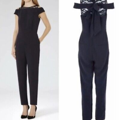 Reiss - Nicky Lace Back Jumpsuit Navy Size 10 - RRP £245 - GENUINE-NEW WITH TAGS • 12.39£