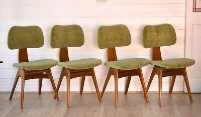 AU1900 • Buy Mid Century Fler Formline Fred Lowen Chairs X4 Dining Chairs Australian 1950s