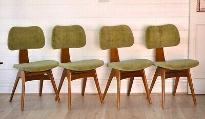 AU1900 • Buy Mid Century Fler Frontline Fred Lowen Chairs X4 Dining Chairs Australian 1950s