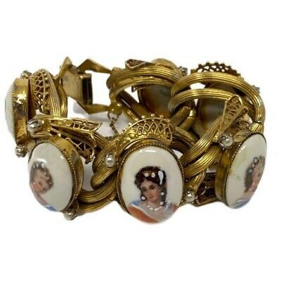 Vintage Limoges Cameo Bracelet Victorian Revival Hand-Painted Rare France • 178.75£
