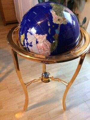 Large Navy Blue Luxury Gemstone Rotating Lapis Globe On Gold Stand With Compass  • 299£