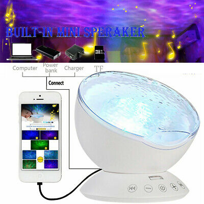 Relaxing Music LED Night Light Ocean Wave Projector Remote Lamp Baby Sleep Gift • 6.99£