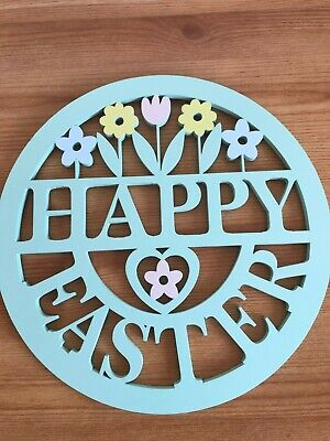 Happy Easter Sign Die Cut Pastel Flowers Wooden Wall Plaque Easter Home Decor • 0.99£