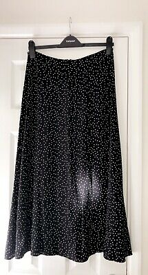 New Look Black & White Polka Dot Maxi Skirt With Split. BNWT. Size 10 • 9.99£