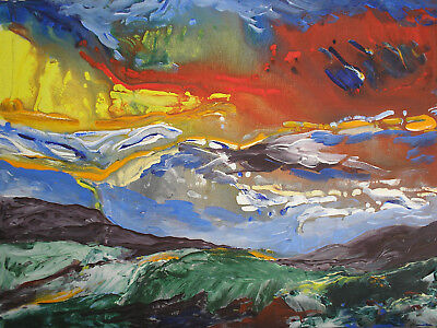 Original Contemporary Landscape Painting On Canvas With Free Postage • 35£