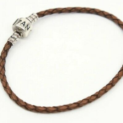 AU13.70 • Buy Pandora Sterling Silver Brown Braided Leather Charm Bracelet #590705CBN-S/7.5