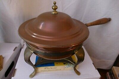 £4.35 • Buy Vintage Copper Chafing Dish, With Wooden Handle And Brass Stand - 7 Pc Set +book