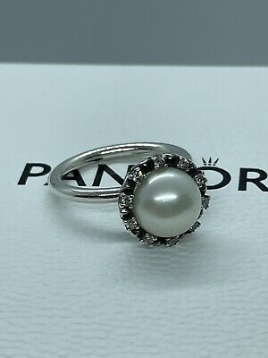 Pandora Pearl Ring Size 54 Authentic Rare Retired Ring Sterling Silver S925 ALE • 19.99£