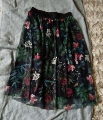 Black Skirt With Green & Red Net Floral Overlay Size M • 1£