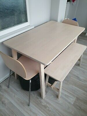 Ikea Table, Chairs And Bench  • 185£