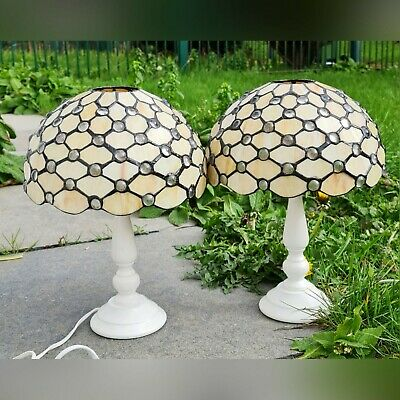 Tiffany Style Table Lampshade Glass Stained Pair Handcrafted Bedside Art Light • 110£