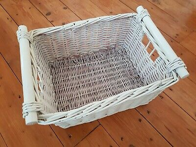 Large White Wicker Open Storage Baskets/Crates For Cupboards, Bathrooms Etc • 10£