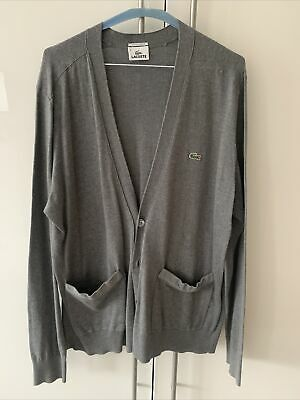 Lacoste Mens Button Cardigan Jumper Top. Grey. Size 6. RP£115 • 19.99£