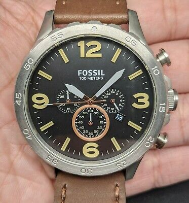 $ CDN13.26 • Buy New Old Stock FOSSIL NATE JR1475 Chronograph Brown Leather Black Dial Men Watch