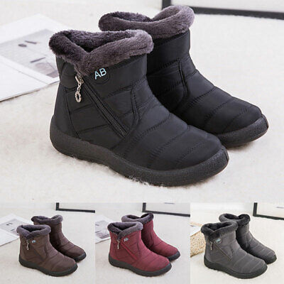 AU39.79 • Buy Womens Fur Lined Snow Ankle Boots Ladies Winter Warm Waterproof Flat Shoes Size