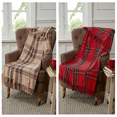 £10.99 • Buy Cotton Throw Blanket In Red Or Natural Tartan Check Design Warm Chair Or Sofa
