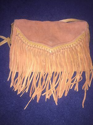 TOPSHOP Real Leather And Suede Tan CrossBody  Fringe Bag • 6£
