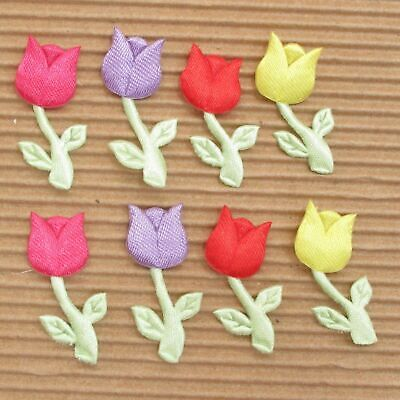 £4.25 • Buy 80 Pcs X 1.25 H Satin Tulip/Rose/Flower Padded Appliques For Mother's Day ST133