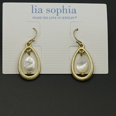 $ CDN7.56 • Buy Lia Sophia Jewelry Vintage Gold Matte Cute Shell Drop Dangle Earrings