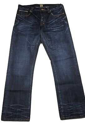 PRPS Barracuda 34 X 32.5 Demon Slim Straight Selvedge Jeans Button Fly • 53.66£