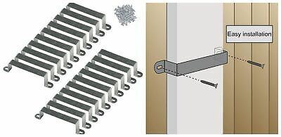 20 Fence Panel Security Brackets For 4x4 Concrete Or Wooden Posts With 40 Screws • 20.10£