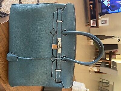 AU7200 • Buy Womens Designer Handbags Hermes Birkin 35 Oyster Blue, Leather, 25x30