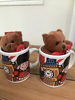 Set Of 2 Mini Mugs And Bears London Theme Brand New With Tags Gift Souvenir • 5£