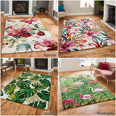 £39.79 • Buy Large Multi Colour Modern Flamingo Natural Floral Thick Quality Living Room Rugs