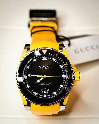 AU379.72 • Buy GUCCI Dive Black Dial Men's Yellow Rubber Watch YA136319