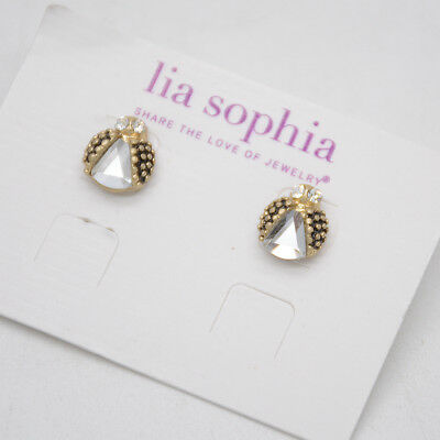 $ CDN8.82 • Buy Lia Sophia Jewelry Ladybug Stud Earrings Gold Plated Cut Crystal Cute For Women