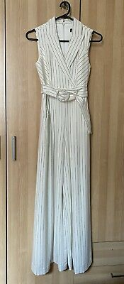 AU55 • Buy Forever New Jumpsuit 6 Petite. White Pinstripe Tux Style BNWT
