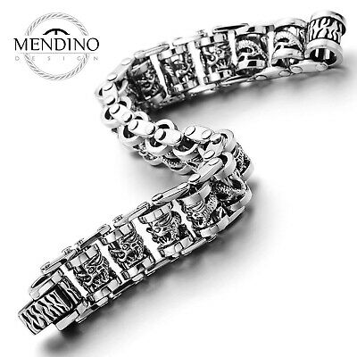 MENDINO Stainless Steel Wheat Chain Bracelet For Men Punk Biker Bracelet 9inches • 32.99£