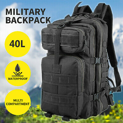 £17.89 • Buy Military Tactical Army Backpack Rucksack Camping Hiking Trekking Outdoor Bag 40L