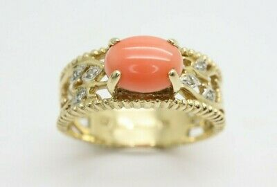 £275 • Buy *Fancy 9ct Gold Pink Coral Diamond Accent Band Ring, Size N