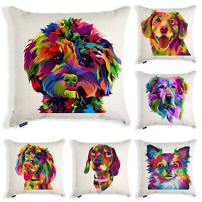 Dog Cushion Cover Colourful Pop Art Pet Pillow Case Puppy Home Birthday Gift • 10.95£