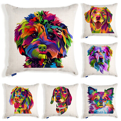 £11.95 • Buy Dog Cushion Cover Pet Portrait Colourful Pop Art Pillow Puppy Home Birthday Gift