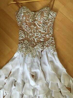 £225 • Buy NEW WHITE CRYSTAL COMPETITION LATIN DANCE DRESS! Drag/stage/theatre