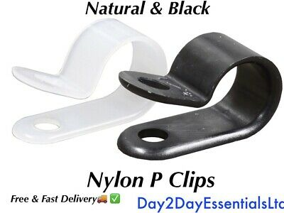 £0.99 • Buy Nylon P Clips - Black & Natural/White High Quality Plastic Fasteners - All Sizes