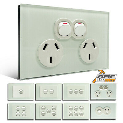 AU16.90 • Buy SAA Approve Electrical Wall Power Point Socket GPO Glass Switch Panel Outlet 10A