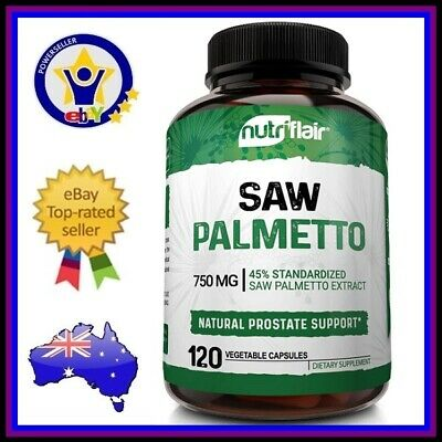 AU44.95 • Buy NUTRIFLAIR SAW PALMETTO 750mg Berry Extract 120 Caps Prostate Health Hair Growth