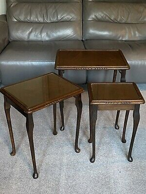 £15 • Buy Mahogany Nest Of Three Tables With Glass Tops