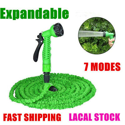 Heavy Duty Expandable Flexible Garden Magic Water Hose Pipe Spray Gun 100FT+Box • 17.79£