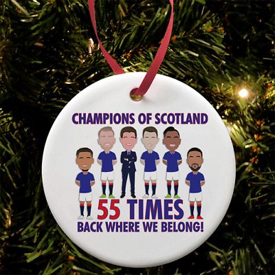 Rangers Champions Of Scotland Christmas Tree Decoration Flat Ceramic Bauble • 6.99£