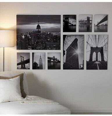 9Pieces IKEA Wall Art Pictures New York City Photos On Wood NEW BOXED112cmX180cm • 39.99£
