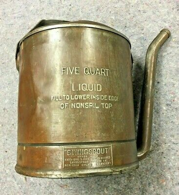 $ CDN37.97 • Buy USED Vintage Collectible Oil Can SWINGSPOUT Copper Coated 5 Quart Metal Pat 1918