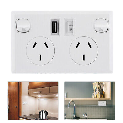 AU22.99 • Buy Single Pole Double Power Point With Twin USB Outlets Fast Charge CARAVAN RV 4x4