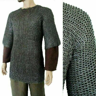 £155.57 • Buy LARGE Chainmail Shirt Flat Riveted Flat Washer Chain Mail Habergeon ARMOR LARP