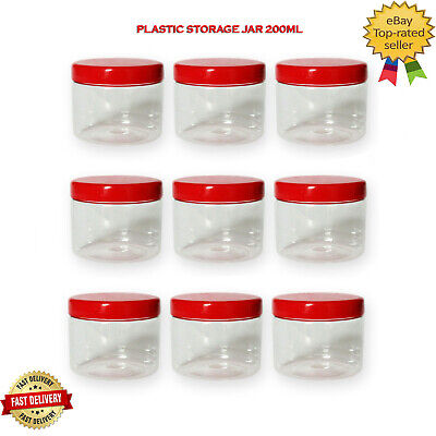 £5.79 • Buy Plastic Storage Jar With Screw Top Lids Candy Food Containers Clear Pots 200ml